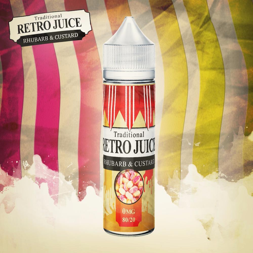 Retro Juice Rhubarb & Custard 0 nicotine e-Liquid 80/20 VG/PG 50ml